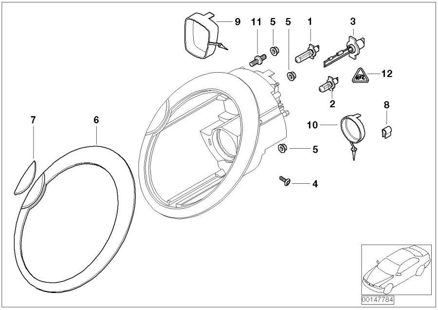 2002 Mini Cooper S Chrome Ring  Right Headlight
