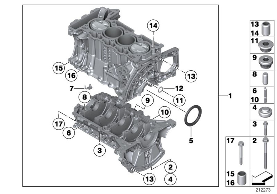 2010 Mini Cooper S Engine Block With Crankgear