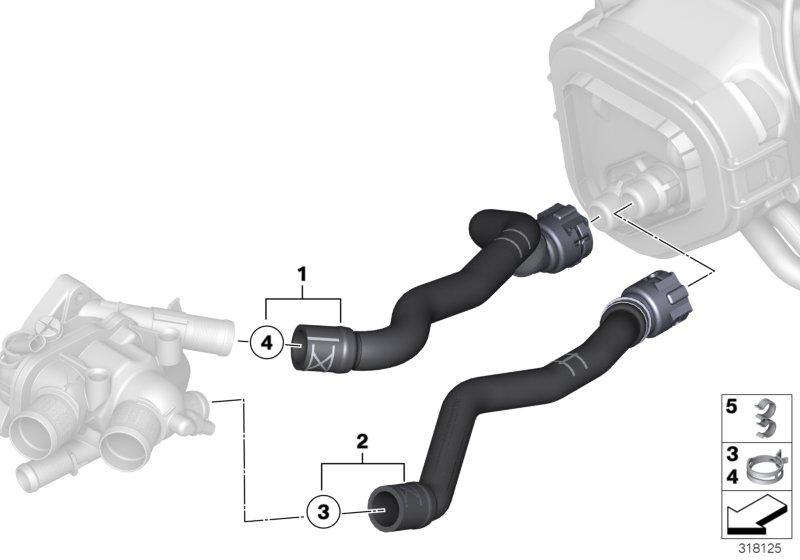 2009 Mini Cooper Hose F Engine Inlet And Heater Radiator
