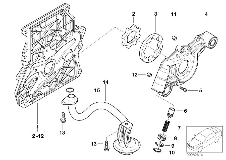 mini cooper end cover with oil pump  convertible  engine  system